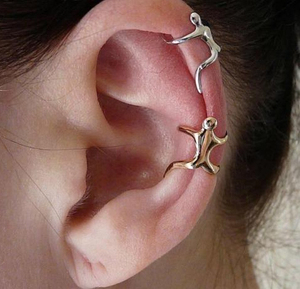 UK Hot Silver Color Gold Earrings Ear clip Climbing Man Naked Climber Ear Cuff Helix Ear clip Cartilage Earrings
