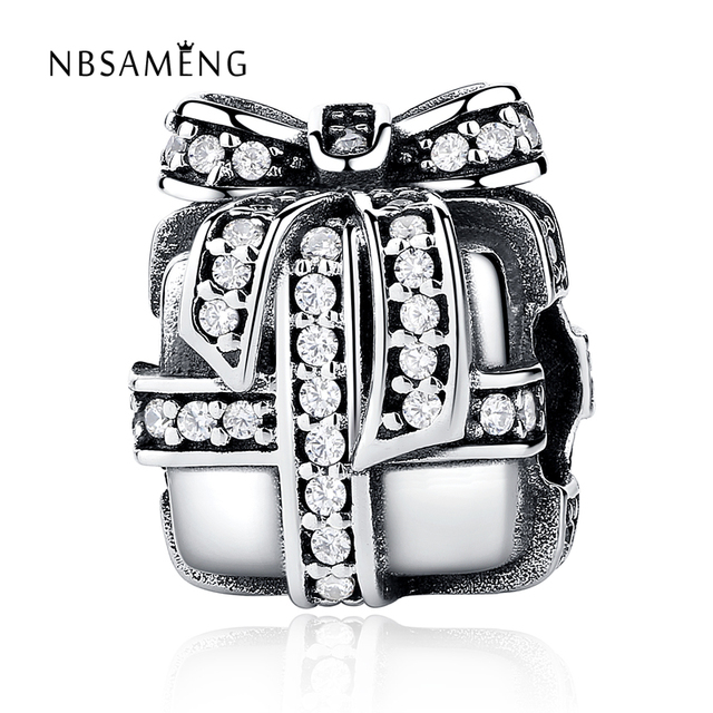 0f847f3e3c6c US $13.39 20% OFF|Authentic 100% 925 Sterling Silver Beads Full Crystal  Christmas Gift Box Charms Fit Pandora Bracelets & Bangles DIY Jewelry-in  Beads ...