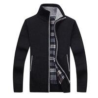 Новый 4XL 5XL для мужчин s флис Sweate осень зима теплый кашемировый платье Тонкий Жир Шерсть Молния повседневные мужские свитера вязаное пальто ...