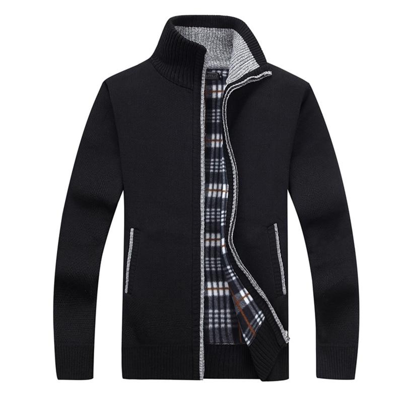 New 4XL 5XL Mens Fleece Sweate Autumn Winter Warm Cashmere Dress Slim Fat Wool Zipper Casual Sweater Men Knitted Coat AF1383