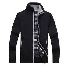 Новый 4XL 5XL Для мужчин s флис Sweate осень-зима теплые кашемировое платье Тонкий Жир шерсти на молнии свитер для повседневной носки Для мужчин вязаное пальто AF1383