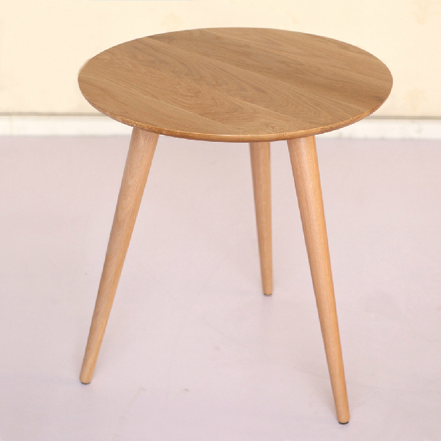 60 CM Round White Oak Wooden Table Coffee Table