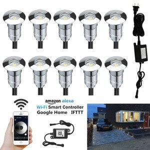 Image 1 - 10 × 24 ミリメートル 12 ボルトアルミ防水ガーデン庭 LED デッキレール階段テラスライト + 無線 Lan コントローラ調光タイマー + トランス
