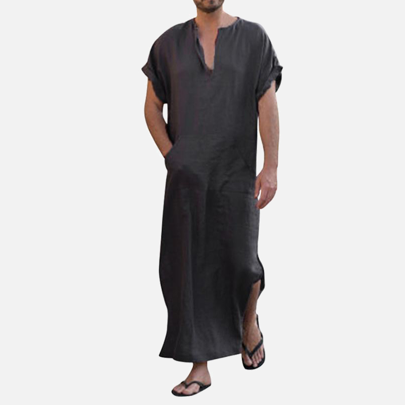 V-neck Short-sleeved Loose Men's Robe Islamic Muslim Arab Kaftan Plus Size Male Nightgown 2019 Solid Casual Summer Men Robes