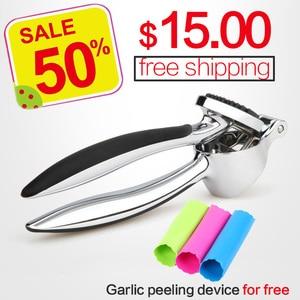 Image 1 - Paslanmaz çelik 304 # hızlı el squeeze sarımsak zencefil presler kırıcı manuel mutfak aracı sarımsak soyma cihazı ücretsiz kargo