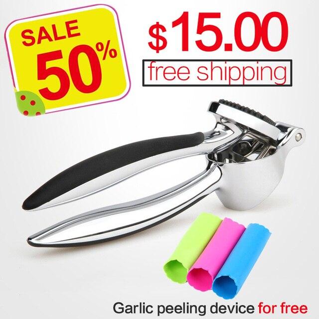 Paslanmaz çelik 304 # hızlı el squeeze sarımsak zencefil presler kırıcı manuel mutfak aracı sarımsak soyma cihazı ücretsiz kargo