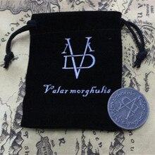 Halloween una canción de hielo y fuego Juego de tronos moneda sin rostro Valar morghulis Jaqen H'ghar Aaliyah insignia 1:1 regalo de Navidad
