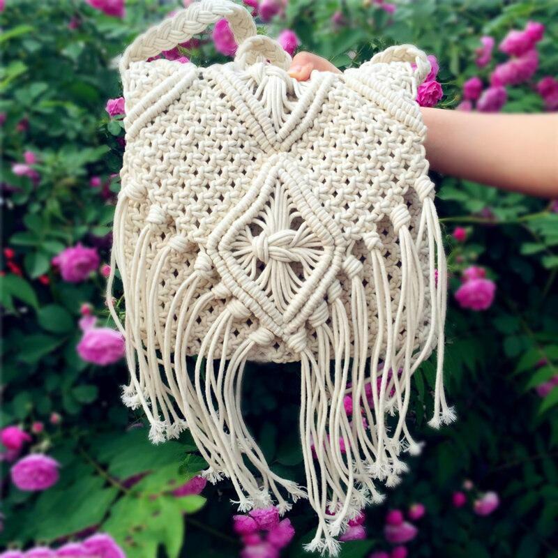 Summer Beach Bohemian Tassel Shoulder Bag Bolsa Feminina Women Crossbody Bags Crochet Fringed Messenger Bags Tassels Cross Bag