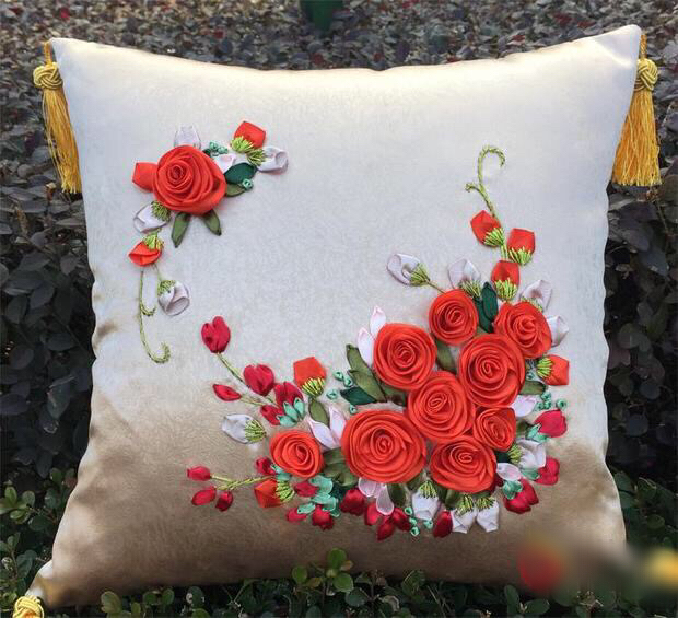 Pcs cm red rose flower happy tree ribbon embroidery