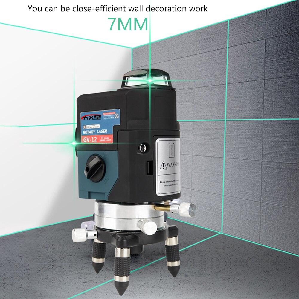 12 ligne 3D Vert Laser Niveau Nivel un Laser 360 Graus Lazer Niveau Profissional Livella Lasers pour profissional outils de construction