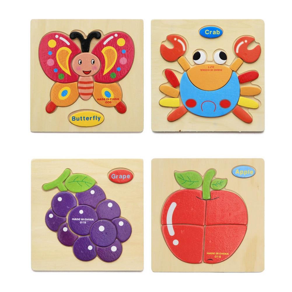 1 предмет Цвет случайный Новое Детское мультфильм Животные фруктов мерных головоломки игрушка Пазлы обучающие игрушки для Детский подарок