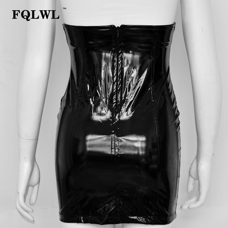 HTB1eVegXELrK1Rjy0Fjq6zYXFXa8 - FQLWL Faxu Latex Pu Leather Skirt For Woman Zipper Black/High Waisted/Pencil Skirts Womens Autumn Wrap Sexy Mini Skirt Female