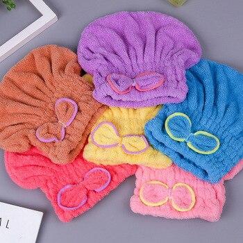 6 colores Microfibra Sólido Secado rápidamente Sombrero para el cabello Turbante para el cabello Mujeres Niñas Señoras Gorra Baño Secado Toalla Cabeza Envoltura Sombrero 1