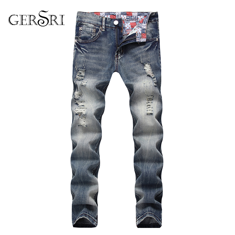 Gersri Jeans Men Scratched Straight Straight Jeans Personality Moustache Effect Men Designer Destroyed Ripped Jeans Male