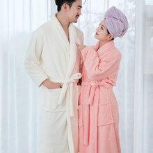 Купить с кэшбэком Beroyal Brand Bathrobe - 100% Polyester Bath Robe Unisex Solid Dressing Gown Spa Bathrobe Pajamas Thick Long Nightgown Sleepwear