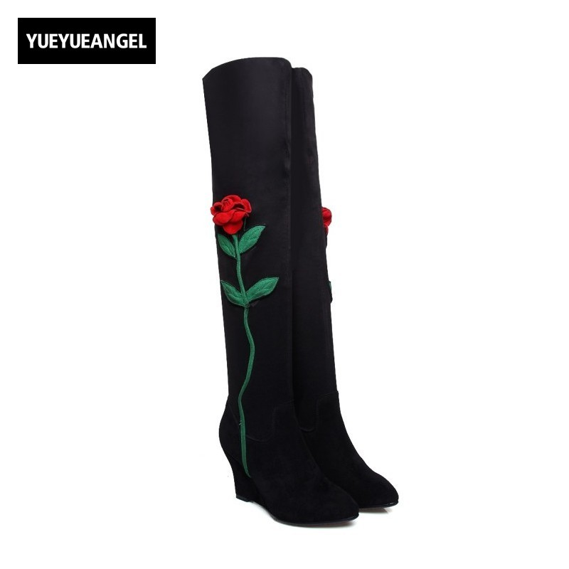 New Fashion Women Shoes Folk Style Embroidery Flower Thigh High Boots Pointed Toe Femme Over Knee Boots Wedge Heel Shoes Black
