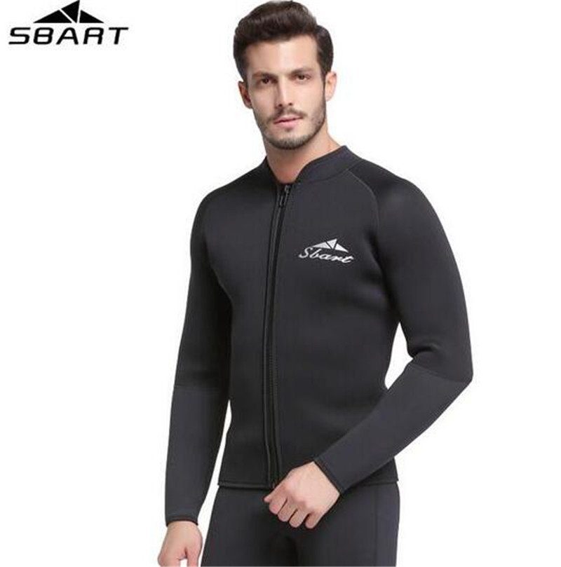 SBART 5MM Neoprene Wetsuit Jacket Mens Long Sleeve Drysuit Triathlon Wetsuits Tops For Surfing Warm Sunscreen Jumpsuit sbart upf50 rashguard 2 bodyboard 1006