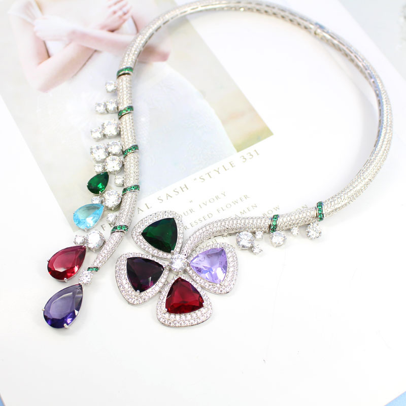 Hot Brand color stone Feast Party Jewelry For Women Banquet Flower Pendant Crystal Necklace Hyperbole Necklace colar jewelry color agate topaz necklace natural stone crystal fashion women pearl chain party pendant exquisite jewelry flower name necklace