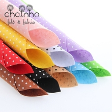 Non Woven Fabric 1mm Thickness Polyester Felt Of Home Decoration Bundle For Sewing Dolls Crafts 10pcs Polka Dot Pattern 30x30cm