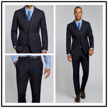 Top Quality 100% wool solid navy notch lapel double vent two buttons three piece european style mens suit!!