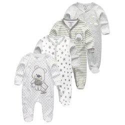 2/3/4 pçs/set macacão de bebê De Algodão roupas menino roupas de menina recém-nascidos conjuntos de Roupas de Manga Comprida Macacão Macacão infantis