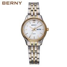 BERNY 2017 Gold Steel Watches Women Business Casual Waterproof Ladies Fashion Luxury Quartz Wrist Watch Rose Gold Watches 2743L