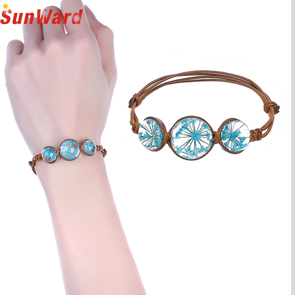 OTOKY Rope Charm Bracelets Cherry Blossom Dandelion Flower Crystal Gem Accessories Wedding Women Jewelry Drop Shipping F23