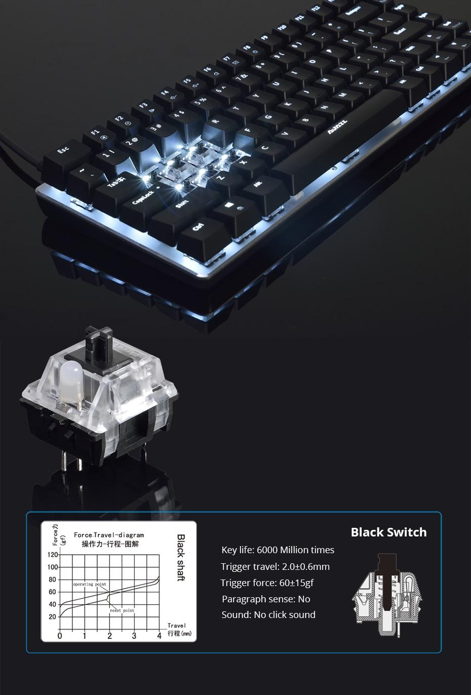 Ajazz AK33 gaming keyboard 82 keys RussianEnglish RGB backlight ergonomic wiredwireless mechanical keyboard conflict-free  (8)