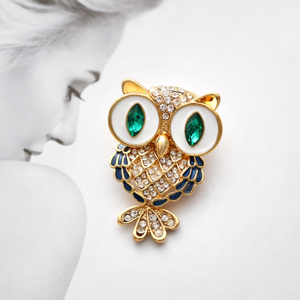 Hearty Gorgeous Gold Plated White Pearl Owl Bird Statement Brooch Attractive Designs; Pins & Brooches Fashion Jewelry