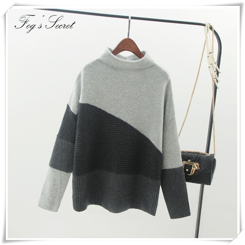 Warm Knittted Clothes of Spring Pullpvers Loose Soft Womens Thick Sweaters Casual wear Patchwork Color ...