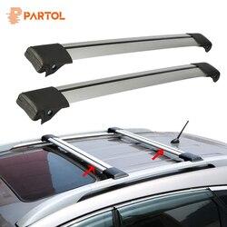 Partol 2 Pcs Voiture Toit Rack Croix Bar Serrure Anti-vol SUV Top 150LBS 68 KG D'aluminium Cargo Porte-Bagages Pour Auto Offroad 93-111 CM