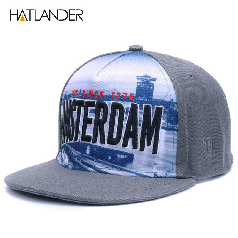 HATLANDER Adjustable Letter snapback baseball caps men swag grey gorras hombre flat brim hip hop cap women outdoor sport hats