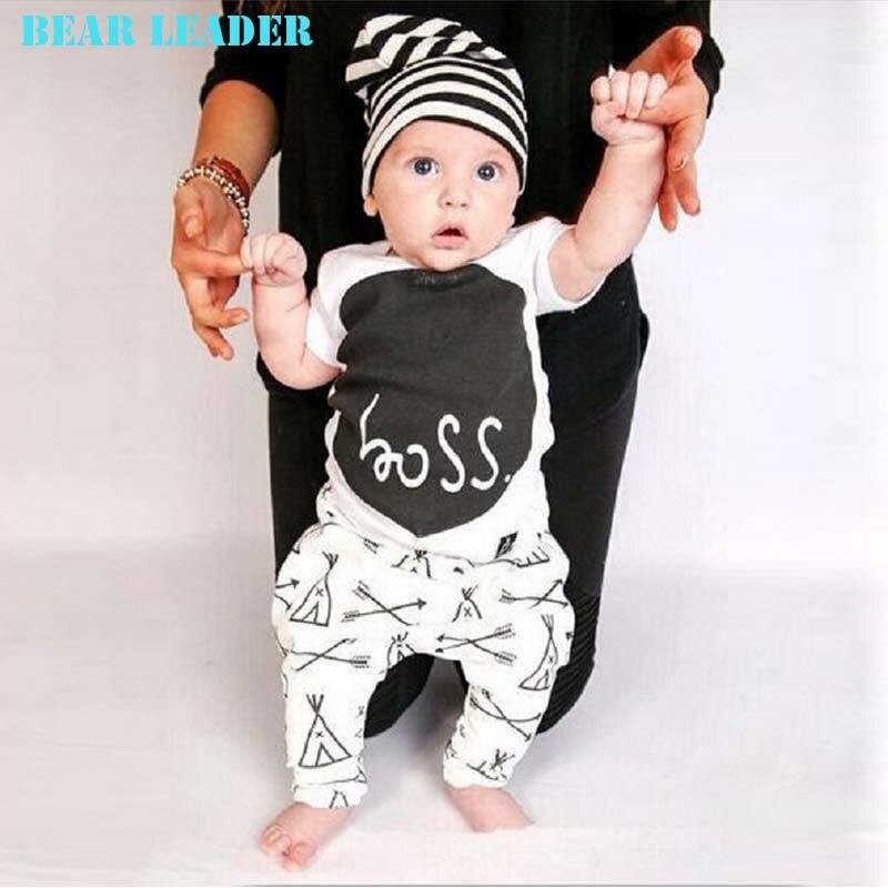 Bear Leader baby girl clothes letter printed short sleeve t-shirt + pants infant clothing 2pcs set newborn baby boy clothes set