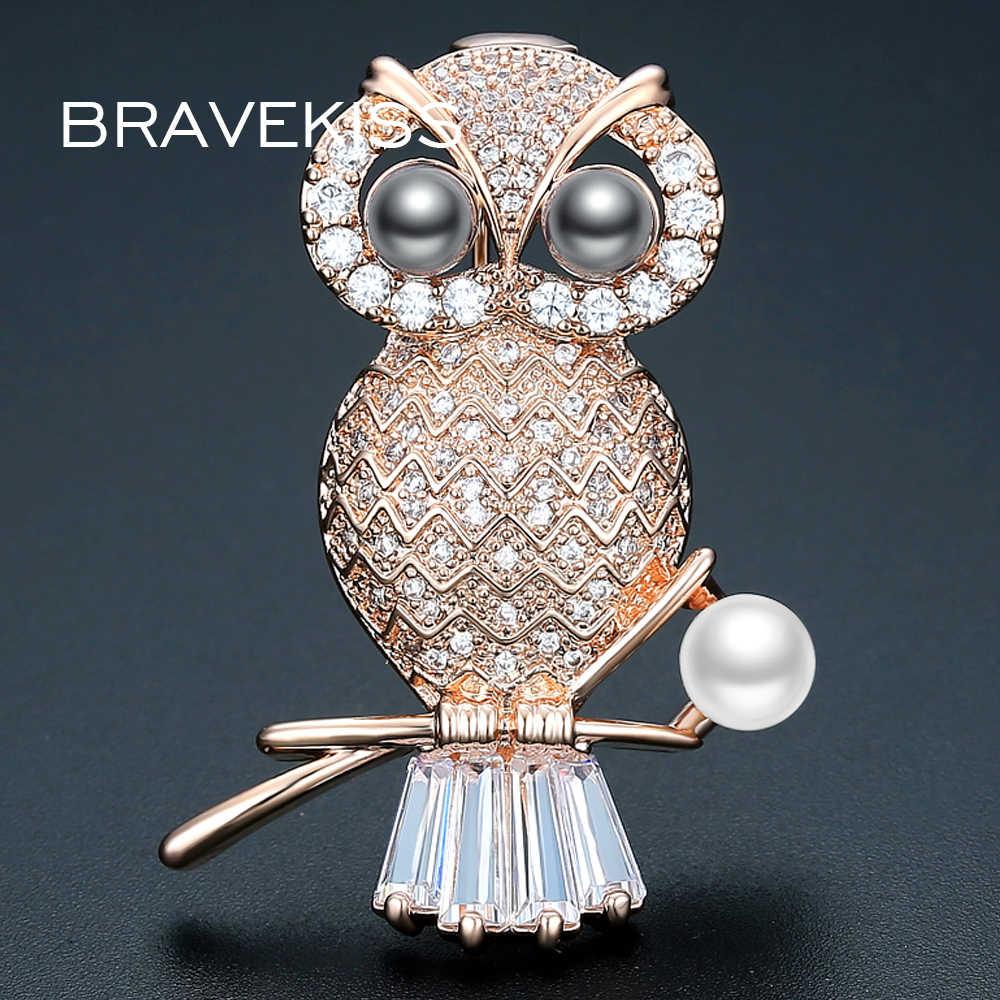 BRAVEKISS Màu Vàng Owl Brooch Đối Với Phụ Nữ Màu Đen Và Trắng Ngọc Trai Trâm Cài Pave Zircon Động Vật Spilla Đồ Trang Sức BUX0014