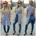 2016 verão moda outono xadrez de algodão sexy mulheres blusa lapela irregular divisão sem mangas cardigan plus size XL oco tops