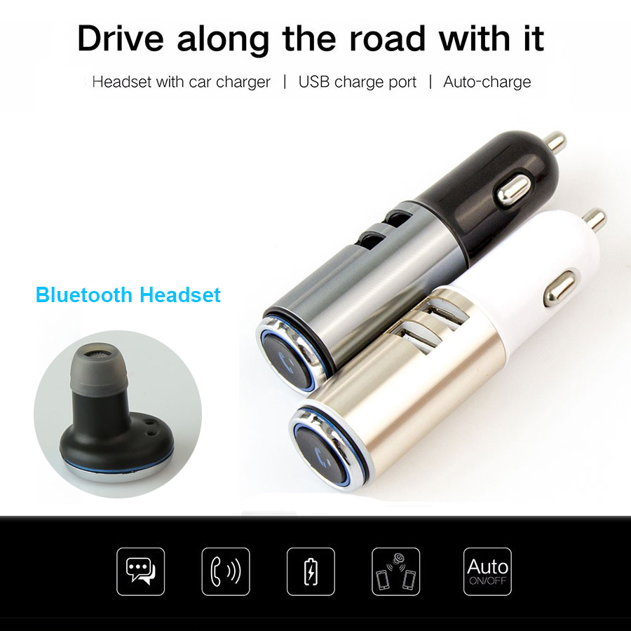 Portable Wireless Bluetooth Earphone Handsfree Mini Headset Stereo Earbuds USB Docking Car Charger For Iphone Smartphone 2 in 1 hlton portable wireless bluetooth earphone handsfree mini headset stereo earbuds car fast charger with mic for smartphone pc