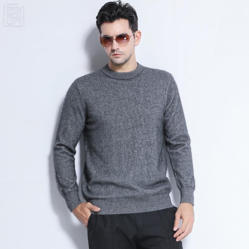 Sales Promotion Winter New Brand Men's High O Neck 100 Mink Cashmere Sweater Half Turtleneck Pullover man christmas masculina