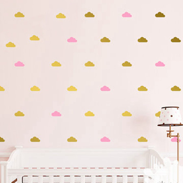 Cloud Wall Decals Kids Room Decor, Removable Gold White Cloud Wall Stickers  Art Mural