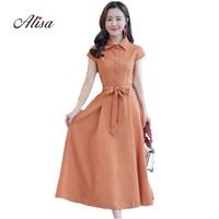 New Summer Women Vintage Boho Dress Short Sleeve Slim A line Robe Elegant Laides Solid Cotton And Linen Dress Vestido De Festa