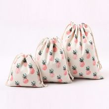 Custom Cotton Canvas Pouch Drawstring Gift Bag Bags Pineapple Printing Children's Love Candy Gift Bags Unisex Pouch Cluch B20(China)