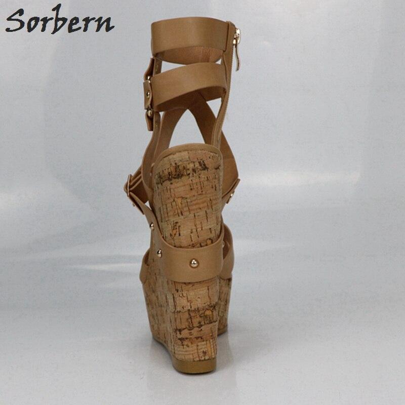 Sorbern Nu Plataforma Sandálias Cunhas Sapatos Para As Mulheres Sandálias Gladiador Das Mulheres Sapatos de Plataforma de Salto Alto Verão As Cores Personalizadas - 3