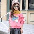 Girls T-Shirts  Cartoon Letter Children Bottoming Shirts Cotton Plus Velvet Sweatshirts For Girls Hoodies 2 3 5 7 9 11 12 Years