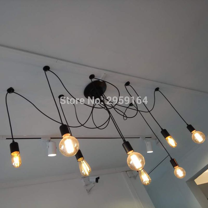 8 Heads E27 Sockets Nordic Industrial Edison Chandelier Vintage Pendant Lamp Loft Antique Adjustable DIY Home Lighting w/o Bulb loft antique retro spider chandelier art black diy e27 vintage adjustable edison bulb pendant lamp haning fixture lighting