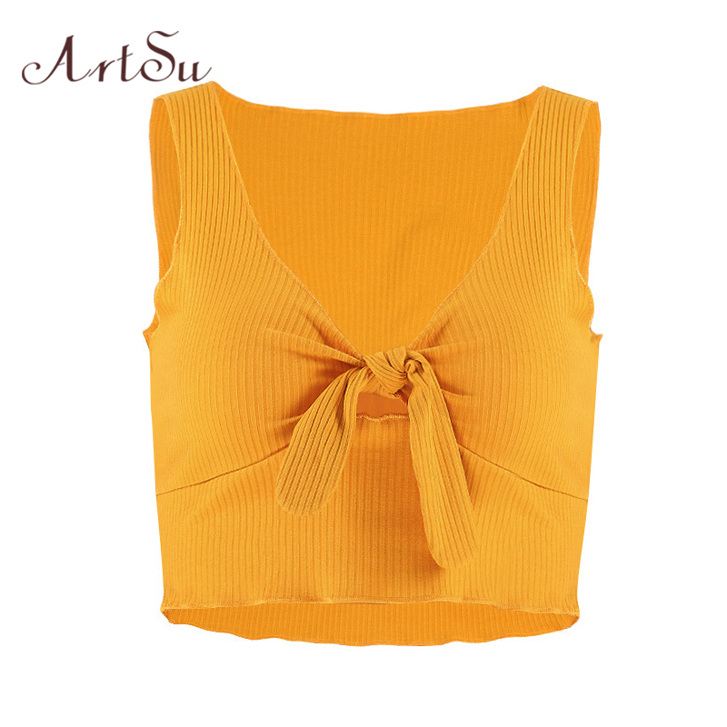 ArtSu Summer 2018 Bow Lace Up Knitted Cropped Tank Top Women Fitness V-neck Sleeveless Short Top Sexy Camisole White ASVE20118
