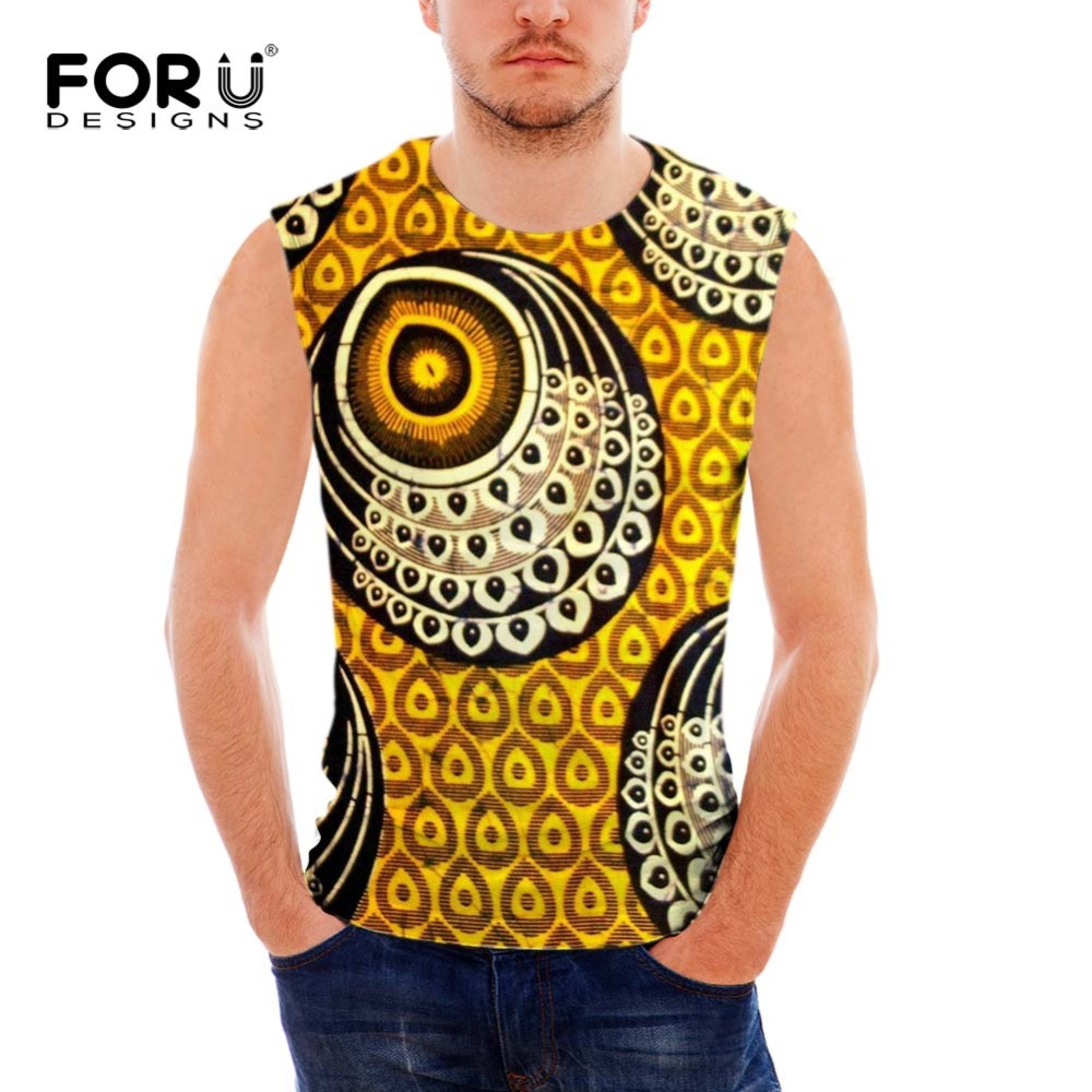 FORUDESIGNS Summer Tank Top Men Clothing and Fitness African Prints Mens Red Sleeveless Vests Singlets Casual Tops for Men Teen african tank tops men