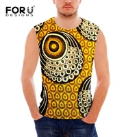 FORUDESIGNS Summer Tank Top Men Clothing And Fitness African Prints Mens Red Sleeveless Vests Singlets Casual