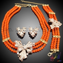 Free Shipping Yulaili Artificial Factory Customized Flower Design Engagement Women Costume Two Beaded Jewelry Set