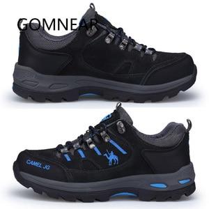 Image 2 - GOMNEAR Zapatillas de senderismo para hombre, zapatos de Trekking y pesca al aire libre, impermeables, para turismo, deportes de acampada, caza, botas de cuero