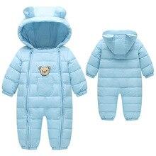 Зимний комбинезон, одежда для малышей, зимняя одежда с хлопковой подкладкой, цельная теплая верхняя одежда, комбинезон, детский зимний комбинезон, парки для новорожденных