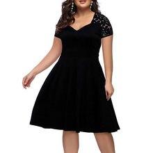 Nuevo verano 2021 de talla grande vestidos Sexy con cuello en V de encaje Vestido Largo gran tamaño hueco cremallera de manga corta de corte Slim de gran tamaño Vestido de